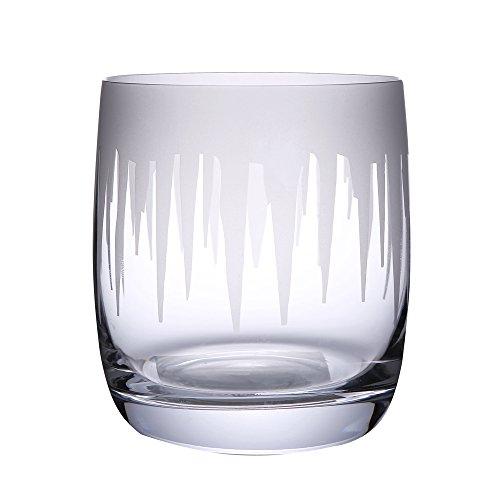 Fly Angle 12 OZ Whiskey Glasses Scotch Glasses Set Of 2 PCS Unique Engraved Glacier Elegant Dishwasher Safe Glass Liquor or Bourbon Glass Tumblers Blue Coaster