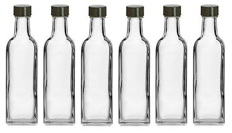 Nakpunar 6 pcs 60 ml Square Glass Liquor Bottles with Black Caps