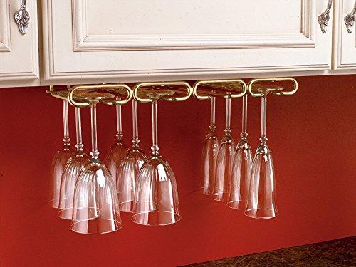 Rev-A-Shelf - 3450-11BR - 11 in Brass Under Cabinet Quad Wine Glass Holder