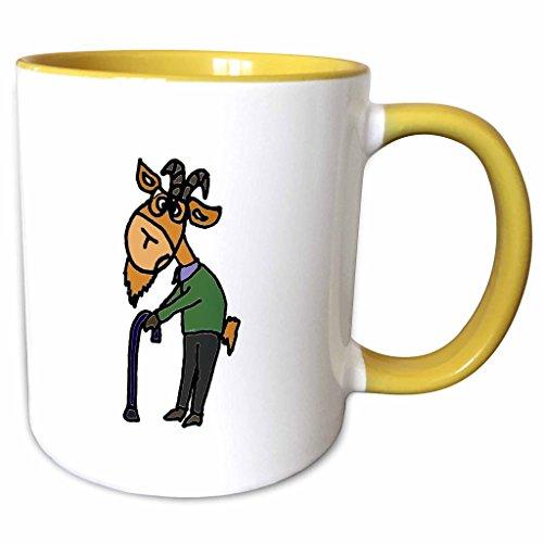 3D Rose 218741_8 Funny Old Goat Original Art Two Tone Ceramic Mug YellowWhite