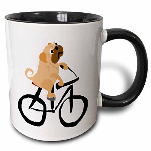 3dRose Funny Fawn Pug Puppy Dog Riding a Bicycle Original Art - Two Tone Black Mug 11oz mug_216725_4 11 oz BlackWhite