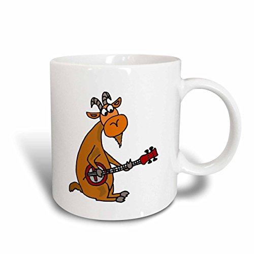 3dRose mug_240069_2 Cool Funny Goat Playing the Banjo Original Art Ceramic Mug 15 oz White