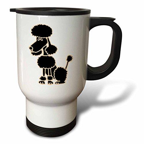 3dRose tm_200082_1 Cute Black Poodle Sitting Original Art Travel Mug 14-Ounce Stainless Steel