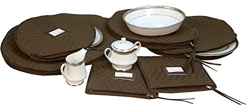 6 Pieces of Fine China Dinnerware Accessory Storage Set - Deluxe Quilted Plush Microfiber - Contents Label Window - Protect Your Valuable China Dishes from Dings Scratches and Cracks - Brown