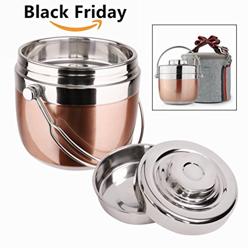 Insulated Lunch Box with Lunch Bag Stainless Steel Food CarrierFood ContainerTaffin Containers Portion Control ContainersThermosIndian Tiffin for Hot Food - Hold Warm for 3 Hours15L
