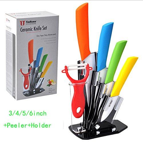 [bear Life] Ceramic Knives Ceramic Knife Set Include 1x Peeler,1x 3 Inch Peel Knife, 1x 4 Inch Paring Knife, 1x