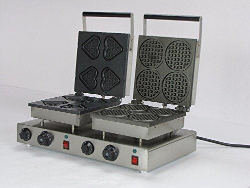 Hanchen Instrument® 4+4pcs Commercial Heart Waffle Maker Electric Round Waffle Machine No-stick Wafflebaker 110v