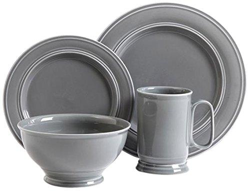 Better Homes And Gardens 97751.16r Admiraware 16-piece Dinnerware Set, Round Stoneware, Gray