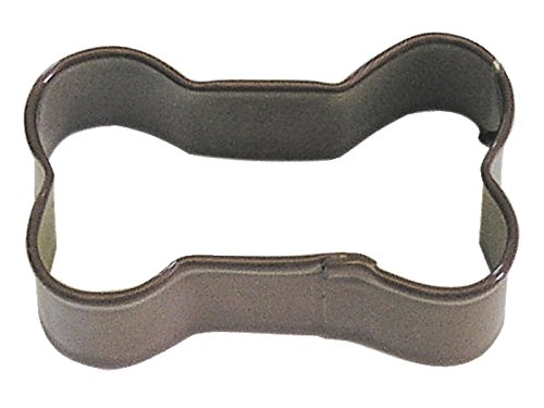 R&M Mini Dog Bone Cookie Cutter Brown With Brightly Colored Durable Baked-on Polyresin Finish