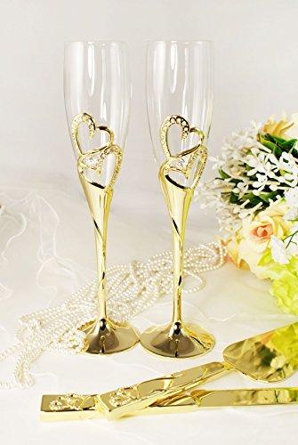 Gold Wedding Toasting Glass Knife and Wedding Cake Server Set