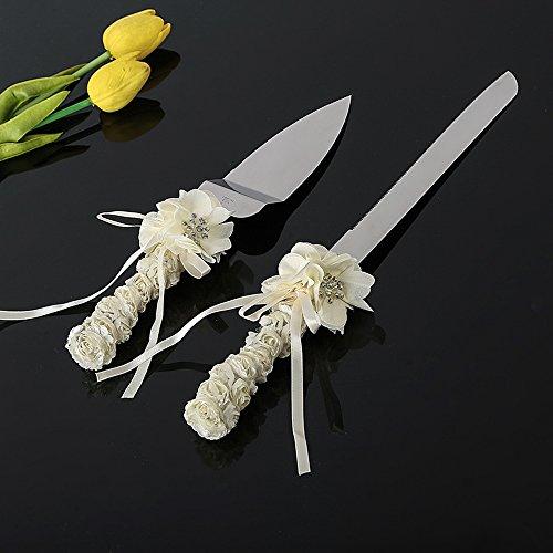 Ivory Rose Wedding Cake Knife Set Bouquet Design Silk Swarovski Crystal Ceremony Knife Set Cake Servers Knives Cake