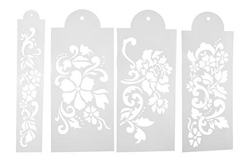 OUBORUI 4PCSSet Decorating Cake Stencils Template Decoration Wedding Cake Set