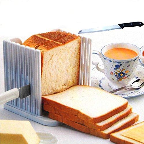 Baynne Kitchen Bread Loaf Slicer Slicing Cutter Toast Cutting Guide Folding and Adjustable Handed Bread Machine Bread Maker for Homemade Bread Bagel Loaf Sandwich White