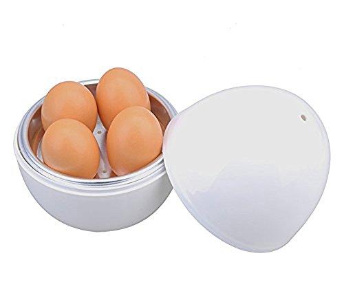 Hamosky Round Shape Microwave Egg Poacher Egg Cooker  Eggs Boiler Steamer with 4 Egg CapacityEgg Plate Tray for HomePack of 1