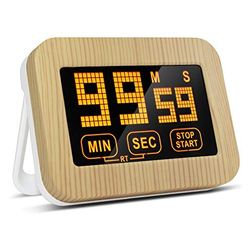 TOPCHANCES Kitchen Timer Digital Cooking Timer Magnetic Countdown Clock Wooden Cover Timer with Touch Panel Display Setting for StudyWorkoutCook