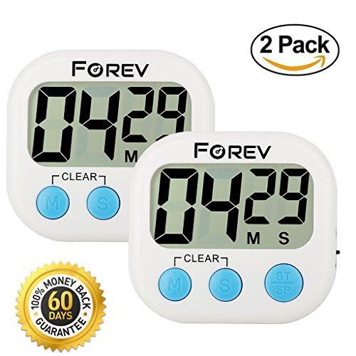 Kitchen Timer Digital Electronic Loud Alarm No BEEPing when Setting Magnetic Backing White 2 WHITE
