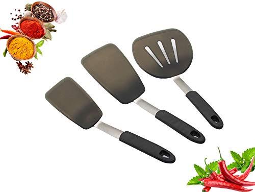 JISNKEI 3-Piece Silicone Turner Spatula Set600 Heat-Resistant Flexible Rubber Silicone SpatulasNon-Stick Kitchen Utensil Set for CookingFlipping Pancakes