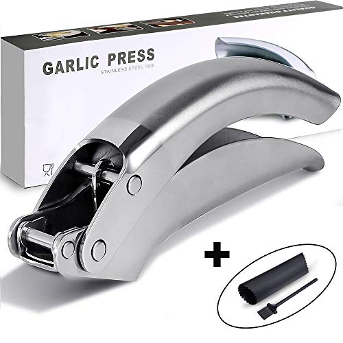 WANG BAO Save Effort Professional Stainless Steel Garlic Press Dishwasher Safe Rust-Proof