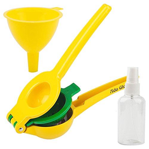 Ado Glo Manual Lemon Squeezer - Premium QualityLime Juicer - Aluminum Citrus Juicer with Cooking Sprayer Mini Funnel