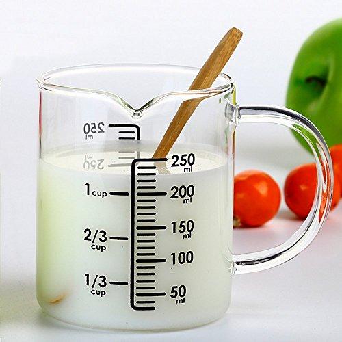 Lautechco 500ml Glass Measuring Cup With A Scale  Glass Milk Transparent Heat BakingCan MicrowaveMilk Cup