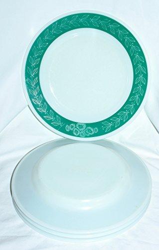 Vintage Corning Pyrex Milk Glass BlueGrass Tableware 9 Inch Dinner Plates Set of 4