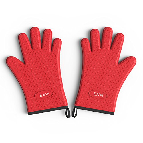 EXVI Extreme Heat Resistant BBQ Grilling Gloves Heavy Duty Oven Mitts Gloves with Double Cotton Layer for Cooking Baking Grilling Barbecue Potholder Red