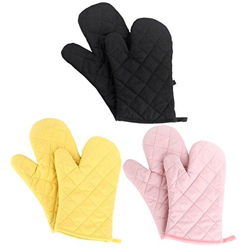 Nachvorn Oven Mitts3 Pair of Premium Heat Resistant Kitchen Gloves Cotton Polyester Quilted Oversized Mittens Three Pair170216-BlackYellowPink