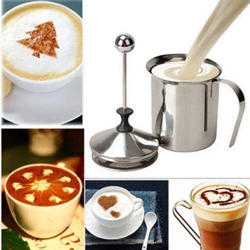 400ml Stainless Steel Double Mesh Milk Coffee Frother Milk Foamer Milk Pump Home