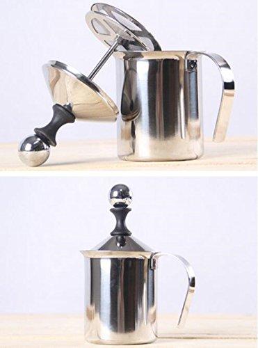 Yosoo 400ml Stainless Steel Double Mesh Milk Creamer Frother Foamer Cappuccino Coffee Foam Pitcher Froth Pump