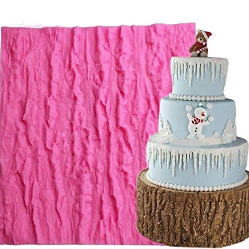 Fondant Impression Mat KOOTIPS Tree Bark texture Design Silicone Cake Decorating Supplies for Cupcake Wedding Cake Decoration Tree Bark mat