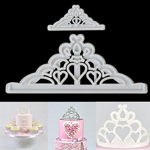 Katoot Sugarcraft Cake Cutter Mold 2Pcsset Crown Silicone Tiara Fondant Icing Cutting Die Cake Cookies Tool For Decoration Baking