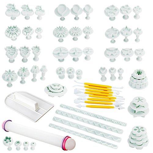 68-Piece Deluxe Cake Decorating Set- DIY Cake Fondant&gumpaste Decorating Modeling ToolsCookie StampsRolling PinFondant Tools