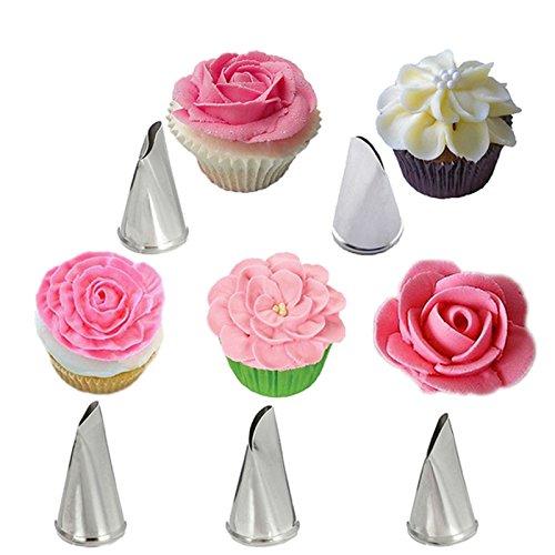 5 Pcs Set Rose Petal Icing Piping Nozzles Metal Cream Tips Cake Decorating Tools Cupcake Pastry Tool decorating tools satchel cake nozzles cake tools by Randall Elliott
