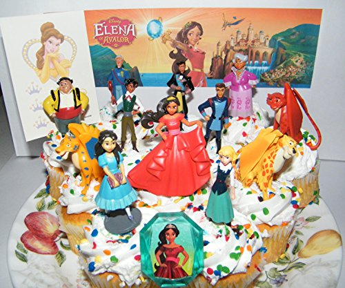 Disney Elena of Avalor Deluxe Mini Cake Toppers Cupcake Decorations Set of 14 with Figures a Sticker Sheet and Toy Ring Featuring Princess Elena Isabel 3 Jacquins and More