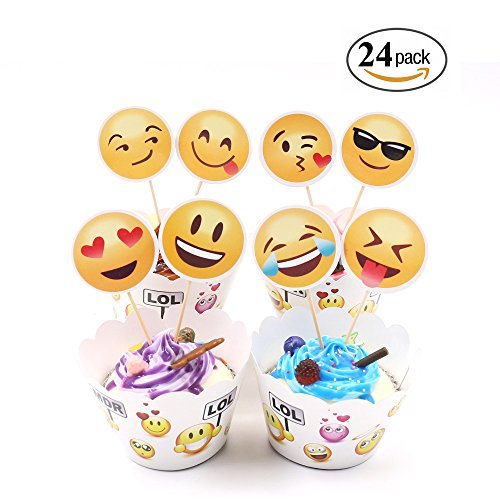 Emoji Cupcake Toppers and Wrappers Kids Party Cake Decorations Set of 24