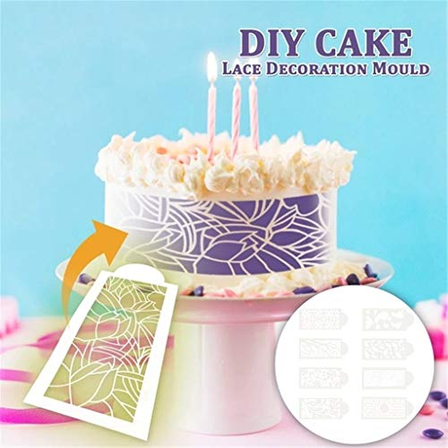 Agelloc Lace Fondant Molds 8pcs DIY Lace Embosser Mat Cake Sugarcraft Decorating Baking Mould Milky White Cake Decorating Stencil Molds Kitchen Gadget Tools