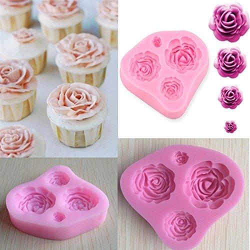 Rurah 3D Silicone Fondant Cake Mould Baking Decorating Tools Cake DIY Rose Flower Shaped Mold