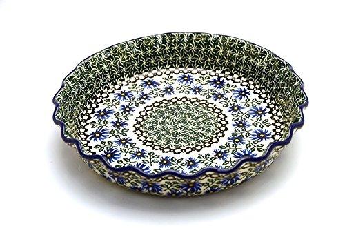 Polish Pottery Baker - Pie Dish - Fluted - Blue Chicory
