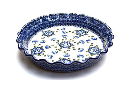 Polish Pottery Baker - Pie Dish - Fluted - Blue Poppy
