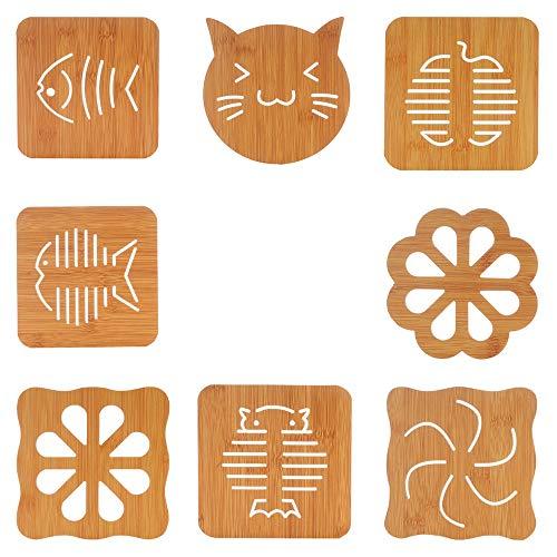 8 Pack wood Trivet Mat - Hot Pot Holder Hot Pads for Table Countertop - Teapot Trivet Bamboo Kitchen Trivets - Non-Slip Heat Resistant Modern Kitchen Hot Pads For Pots Hot Dish Solid Trivet Set