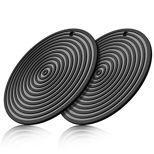 MEFAN 11 Large Silicone Ripple Trivet Mat Potholder Hot Pad Spoon Rest Jar Opener Coaster Heat Resistant up to 480F Flexible Durable Non Slip Black Set of 2