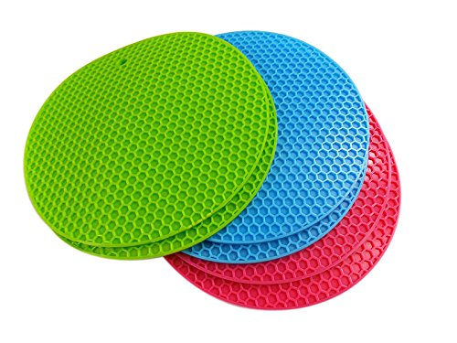 2016 Rhumen Premium Value Set of 6 Silicone Trivets  Pot Holder  Coaster  Placemat with Free Ebook Gift 50 Famous Cupcake Recipes