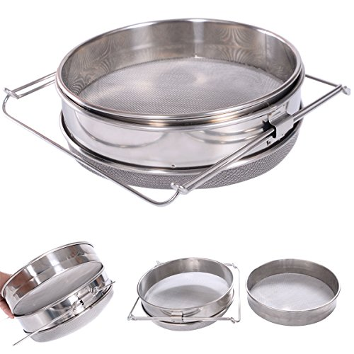 Food Strainers Stainless Steel Beekeeping Strainer Double Honey Sieve Filter Equipment sieve sieve fine mesh sieve strainer sieve set sieve for canning nectar in a sieve New