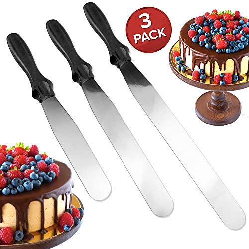 Straight Spatula Cake Cream Berry Scraper Baking Kitchen Stainless Steel Cream Scraper for Cake Bread Jam - 3Pcs Set