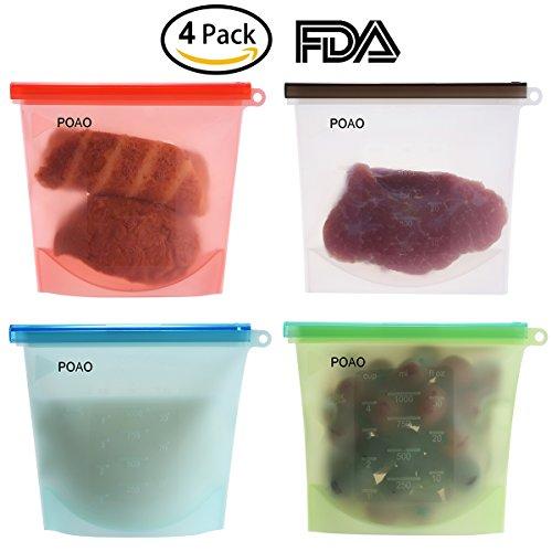 Reusable Silicone Food Storage Bag Food Grade Vegetable Storage Bag Versatile Preservation Bag Container for Fruits Vegetables Meat set of 4