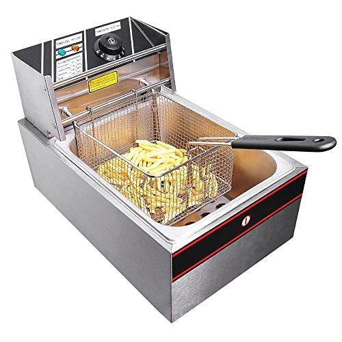 2500w 6 Liter Electric Countertop Deep Fryer Tank Basket Commercial Restaurant