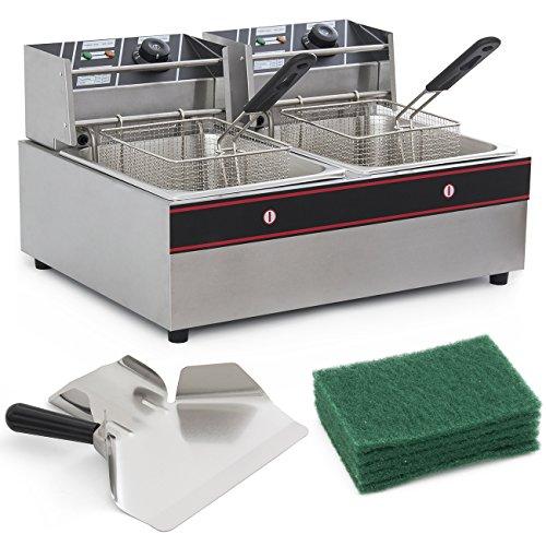 Arksen© 5000w Electric 12 Liter Dual Tank Kitchen Countertop Deep Fryer Built-in Temperature