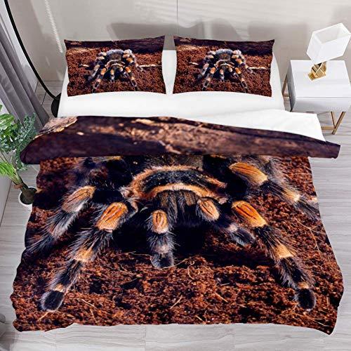 LUCASE LEMON ALEX 3 Pieces Mexican Red Knee Tarantula Spider Duvet Cover Set 1 Duvet Cover  2 Pillowcases Queen Size Breathable Bedding Sets Room Decor for Kids Teens Girls Boys