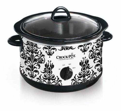 Crock Pot Scr450-pt 4-1/2-quart Slow Cooker, Black Demask Pattern