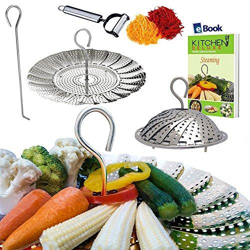 PREMIUM Vegetable Steamer Basket - 55-93 - BEST Bundle - Fits Instant Pot Pressure Cooker - 100 Stainless Steel - BONUS Accessories - Safety Tool  eBook  Julienne Peeler -Steam Food Insert